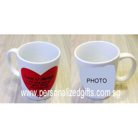 Ceramic Mug with Color Changing Red Heart 11OZ