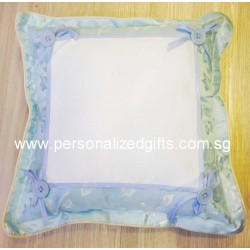BLUE FLOWER BUTTON CUSHION