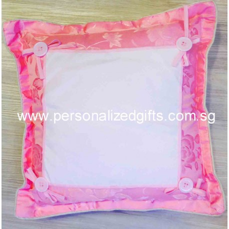 PINK FLOWER BUTTON CUSHION