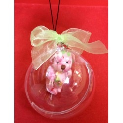 Clear Bauble Hard Plastic Ball / Globe With mini Bear